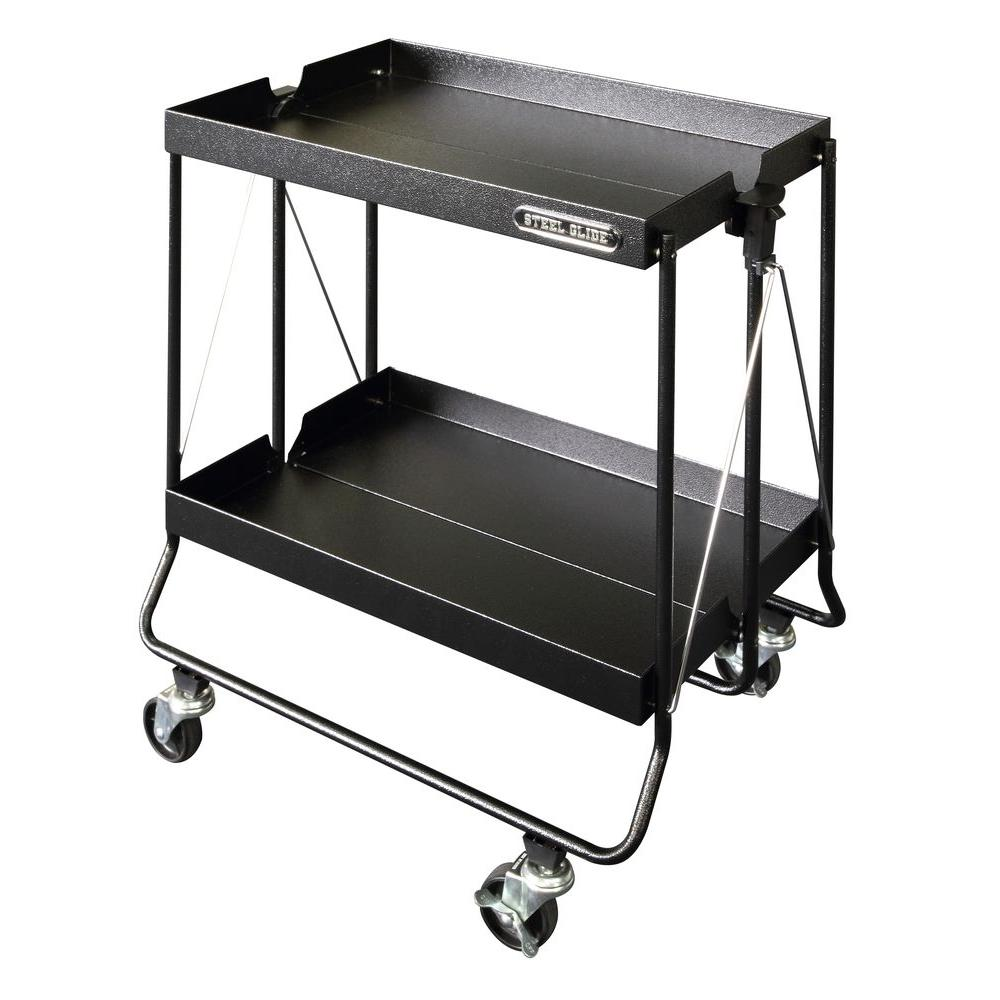 Steel Glide 24 in. Folding Utility Cart, Textured Black