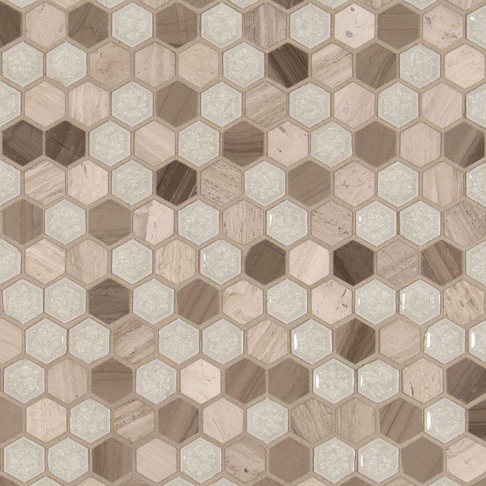 MSI Hexham Blend Hexagon 12 in. x 12 in. x 8 mm Glass and Stone Mesh ...