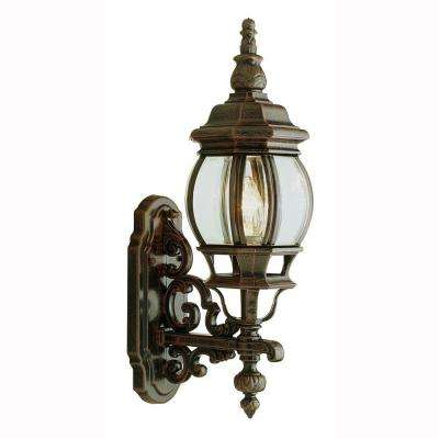 Filigree 1-Light Rust Coach Lantern with Clear Glass