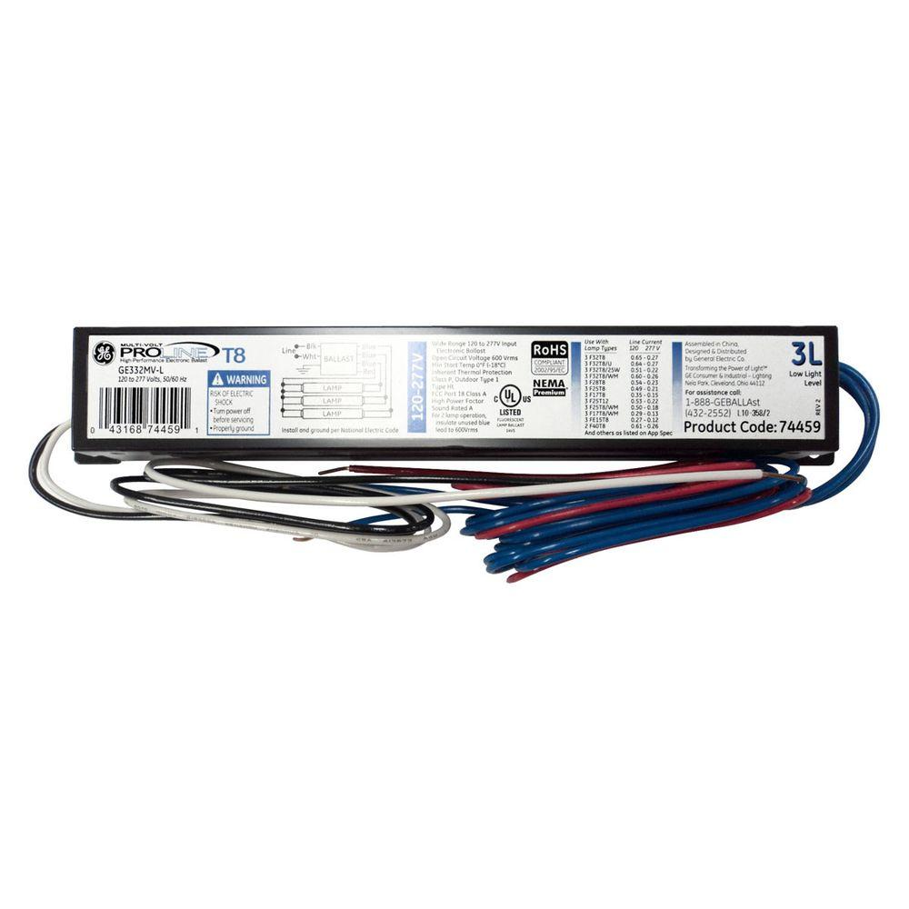 GE 120 to 277-Volt Electronic Low Power Factor Ballast for 4 ft. 3-Lamp T8 Fixture (Case of 10)
