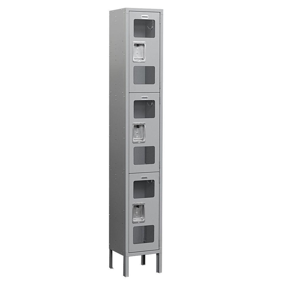Salsbury Industries S-63000 Series 12 in. W x 78 in. H x 15 in. D 3-Tier See-Through Metal Locker Unassembled in Gray