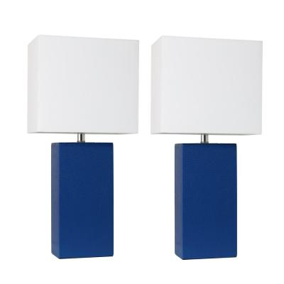 Modern 21 in. Blue Leather Table Lamps with White Fabric Shades (2-Pack)