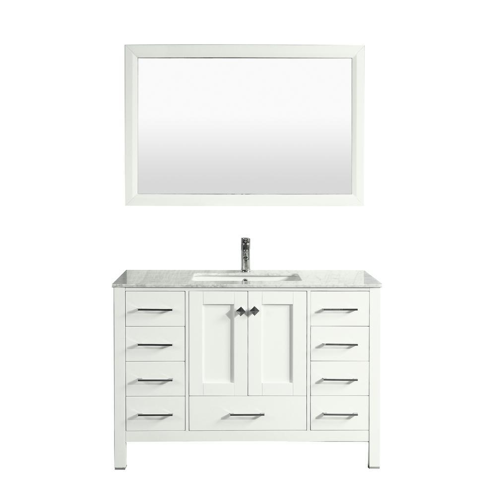 Aberdeen 41.3 in. W x 22 in. D x 35 in. H Vanity in White with Carrara Marble Vanity Top in White with White Basin