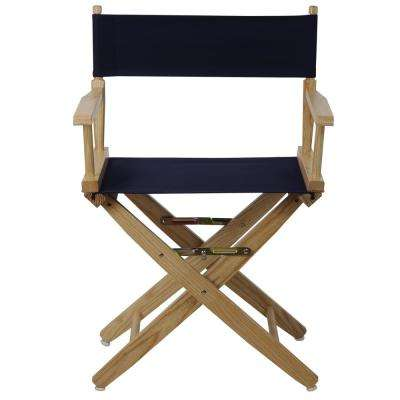 Extra-Wide 18 in. Natural Frame/Navy Canvas American Hardwood Directors Chair