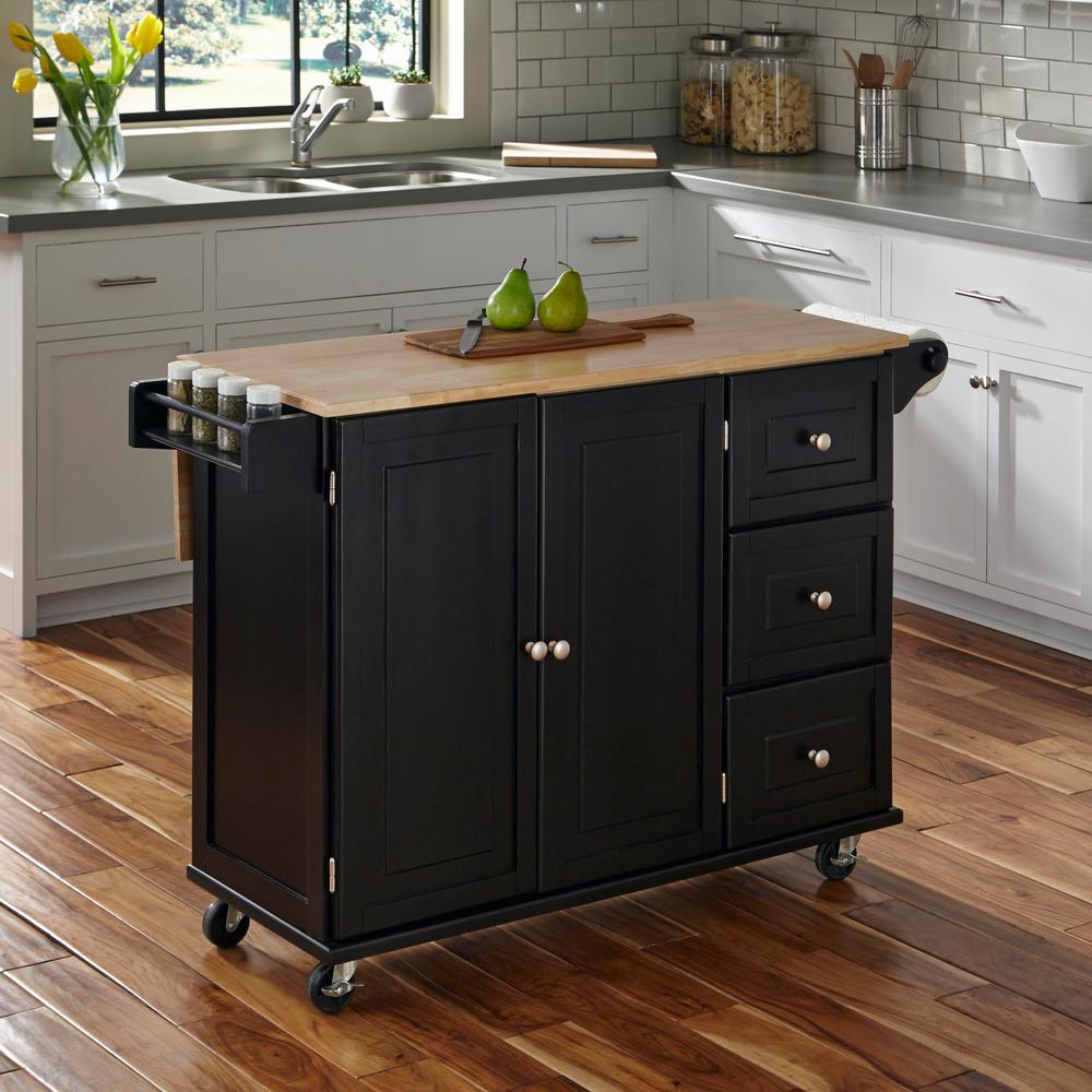Liberty Black Kitchen Cart with Natural Wood Top
