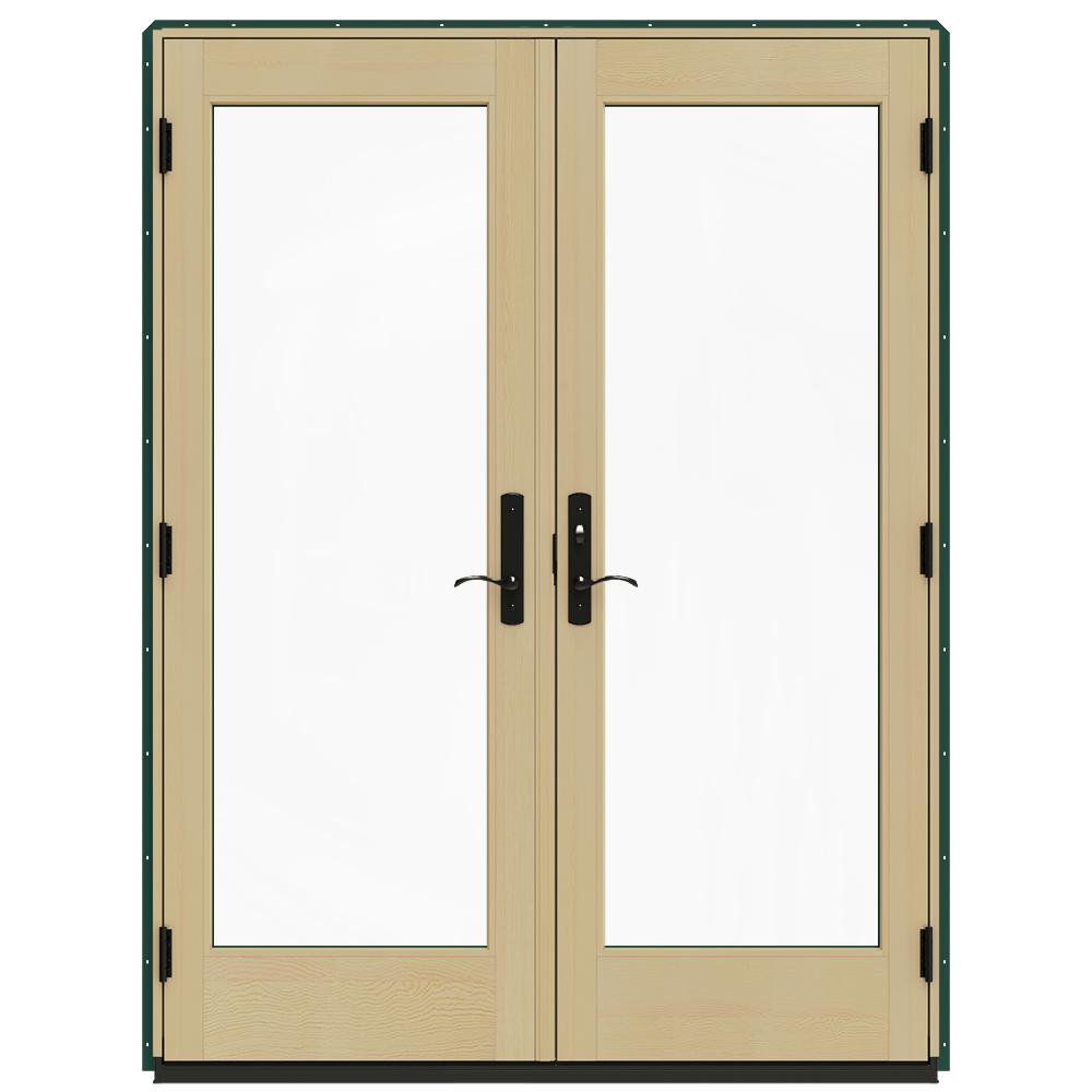 Jeld wen 60 in x 80 in w 4500 green clad wood left hand for Screen for french doors inswing