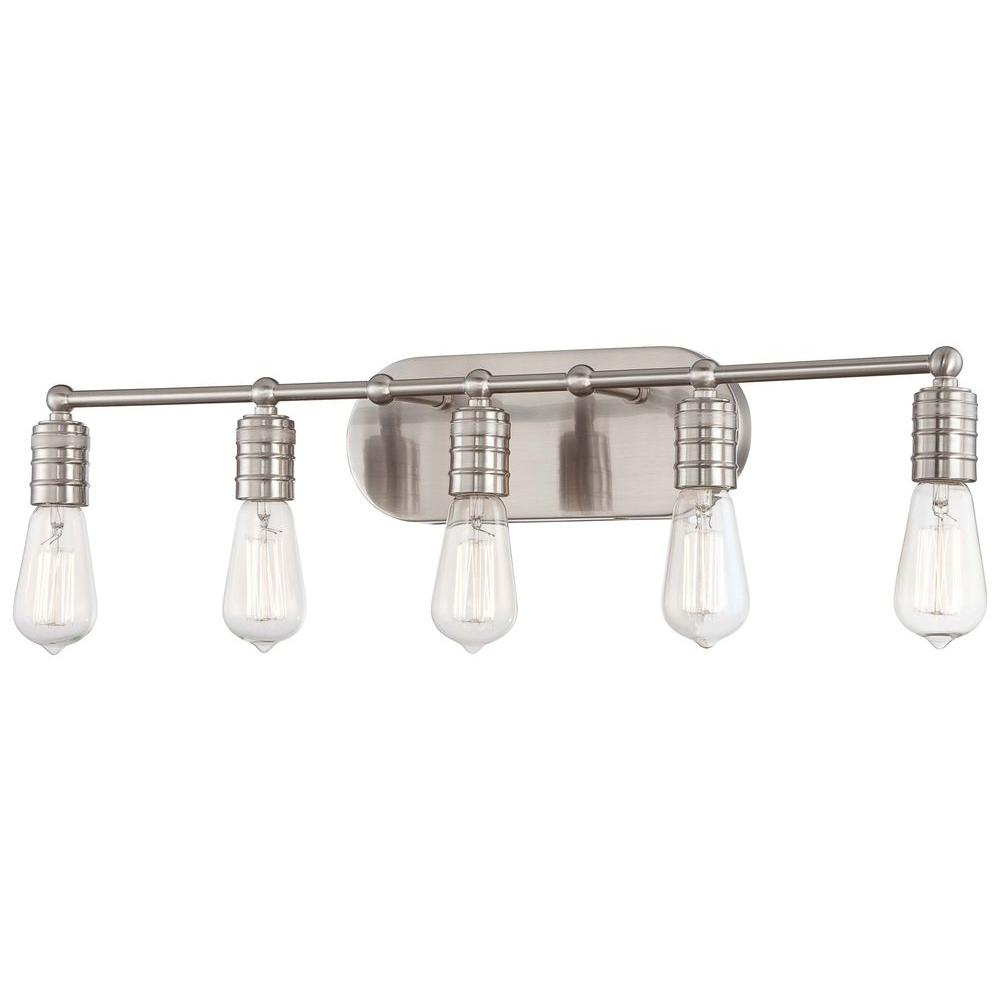 Minka Lavery Downtown Edison 5-Light Brushed Nickel Bath Light  sc 1 st  Home Depot & Minka Lavery Downtown Edison 5-Light Brushed Nickel Bath Light-5136 ...