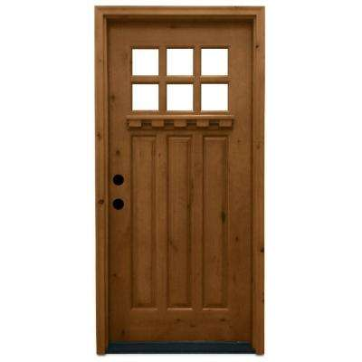 Craftsman 6 Lite Stained Knotty Alder Wood Prehung Front Door Single  Doors The Home Depot