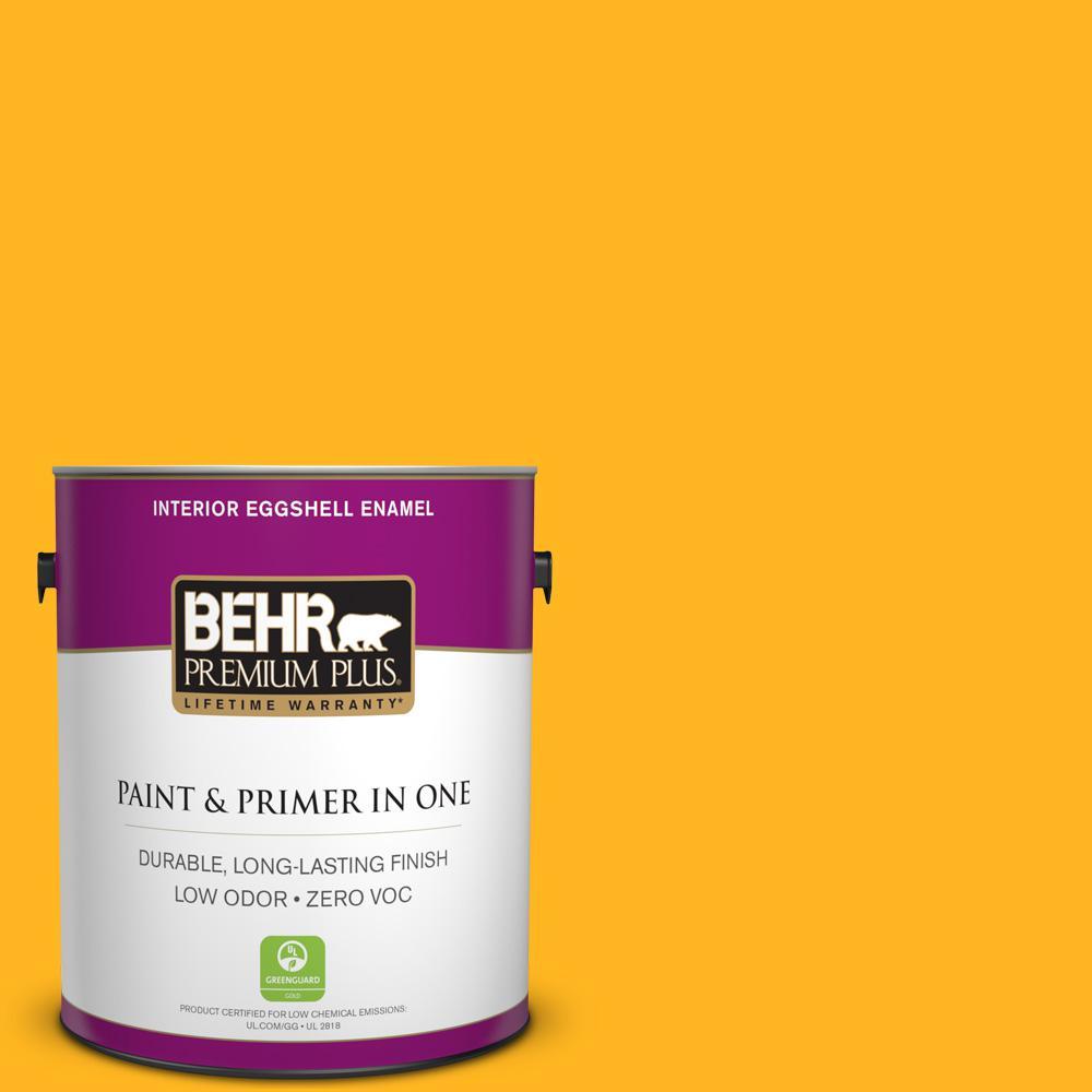 BEHR Premium Plus 1-gal. #P260-7 Extreme Yellow Eggshell Enamel Interior Paint