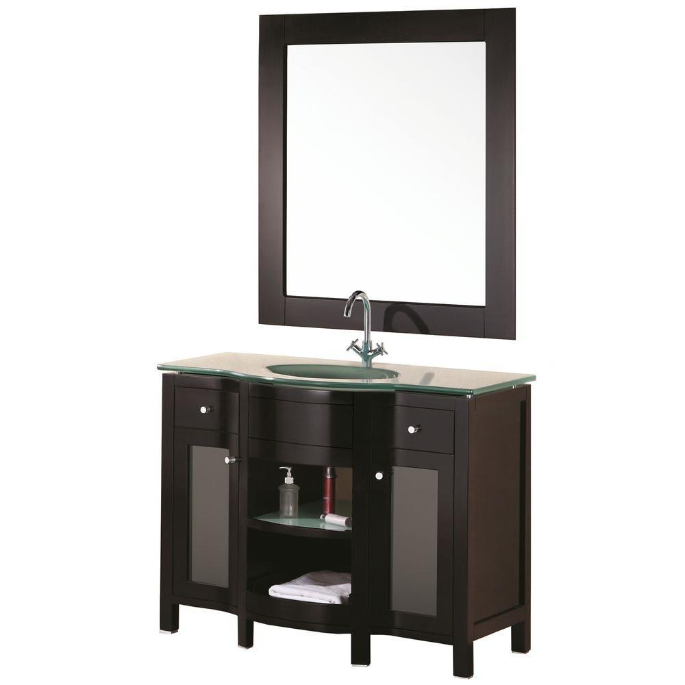 Design Element Rome 43 in. W x 22 in. D Vanity in Espresso with Glass Vanity Top and Mirror in Aqua
