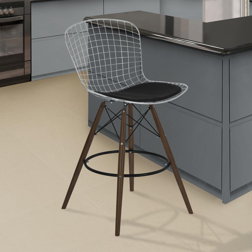 Armen Living Taylor 28 In. Black Faux Leather And Chrome Finish Wire  Barstool