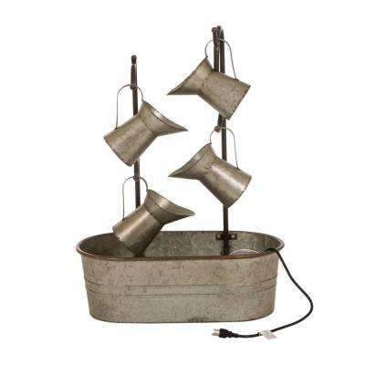 33.25 in. H Farmhouse Galvanized Metal Pitchers Fountain