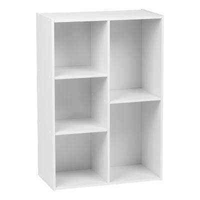 5-Compartment White Wood Organizer Bookcase Storage Shelf