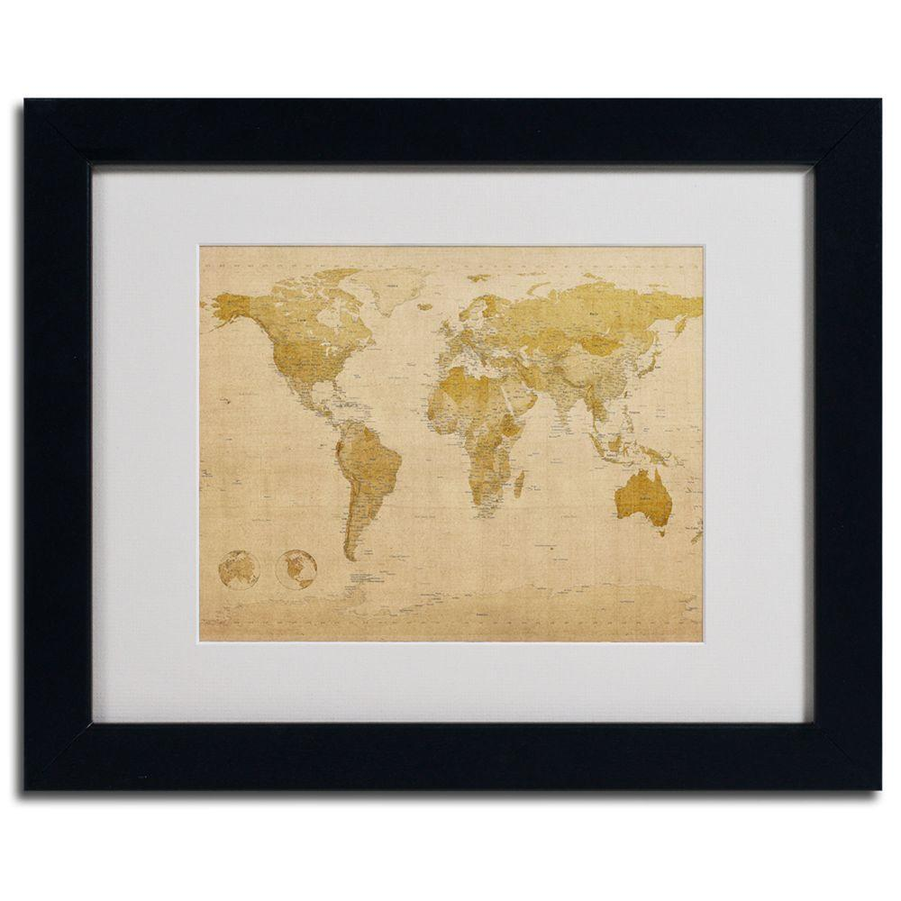 Trademark Fine Art 11 in. x 14 in. World Map Antique Framed Matted Art