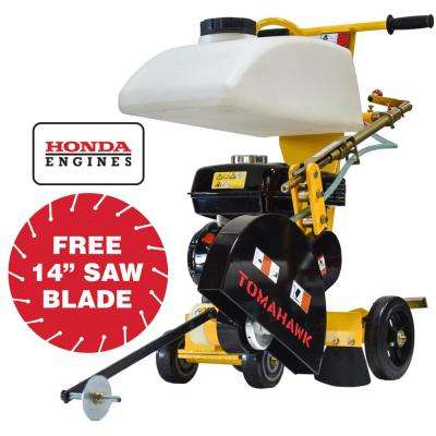 14 in  6 5 HP Honda Walk Behind Concrete Saw for Concrete and Asphalt  Sawing with GX200 Honda Engine