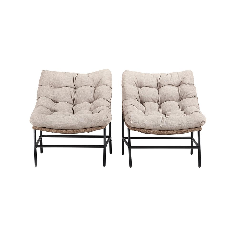 Tremendous Walker Edison Furniture Company Papasan Rattan Removable Cushions Metal Outdoor Patio Lounge Chairs With Natural Cushions Set Of 2 Alphanode Cool Chair Designs And Ideas Alphanodeonline