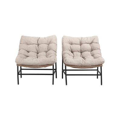 Papasan Rattan Removable Cushions Metal Outdoor Patio Lounge Chairs with Natural Cushions (Set of 2)