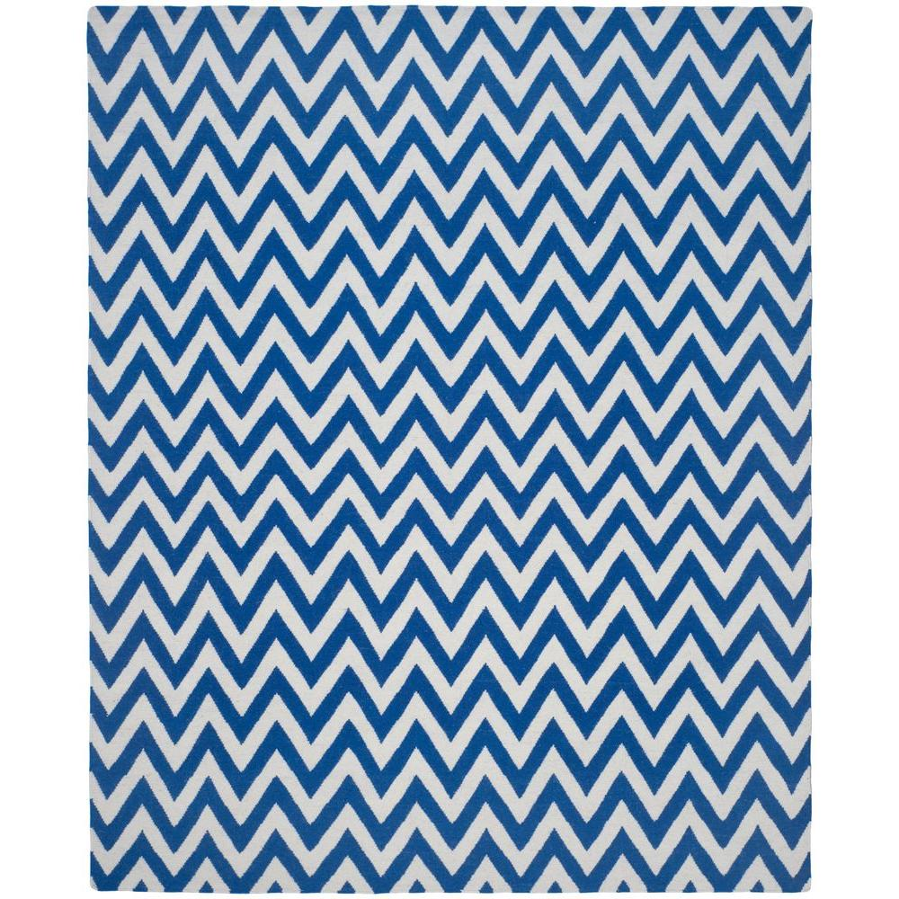 Dhurries Dark Blue/Ivory 9 ft. x 12 ft. Area Rug