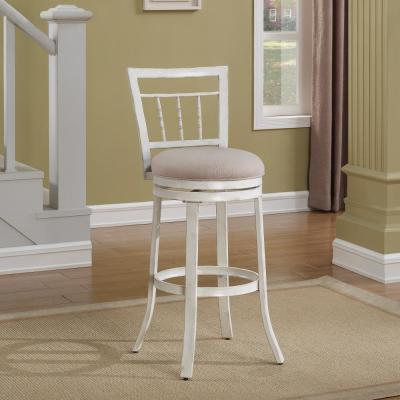 Palazzo 30 in. Antique White Swivel Bar Stool