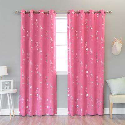 84 in. L Pink Animal Foil Blackout Curtain (2-Pack)