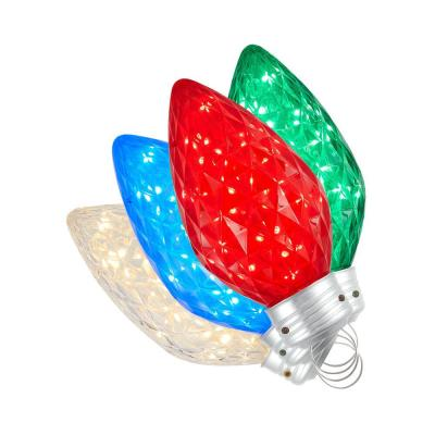 9 in. 120-Light Warm White LED Multicolored Twinkling C Bulbs 4-CT