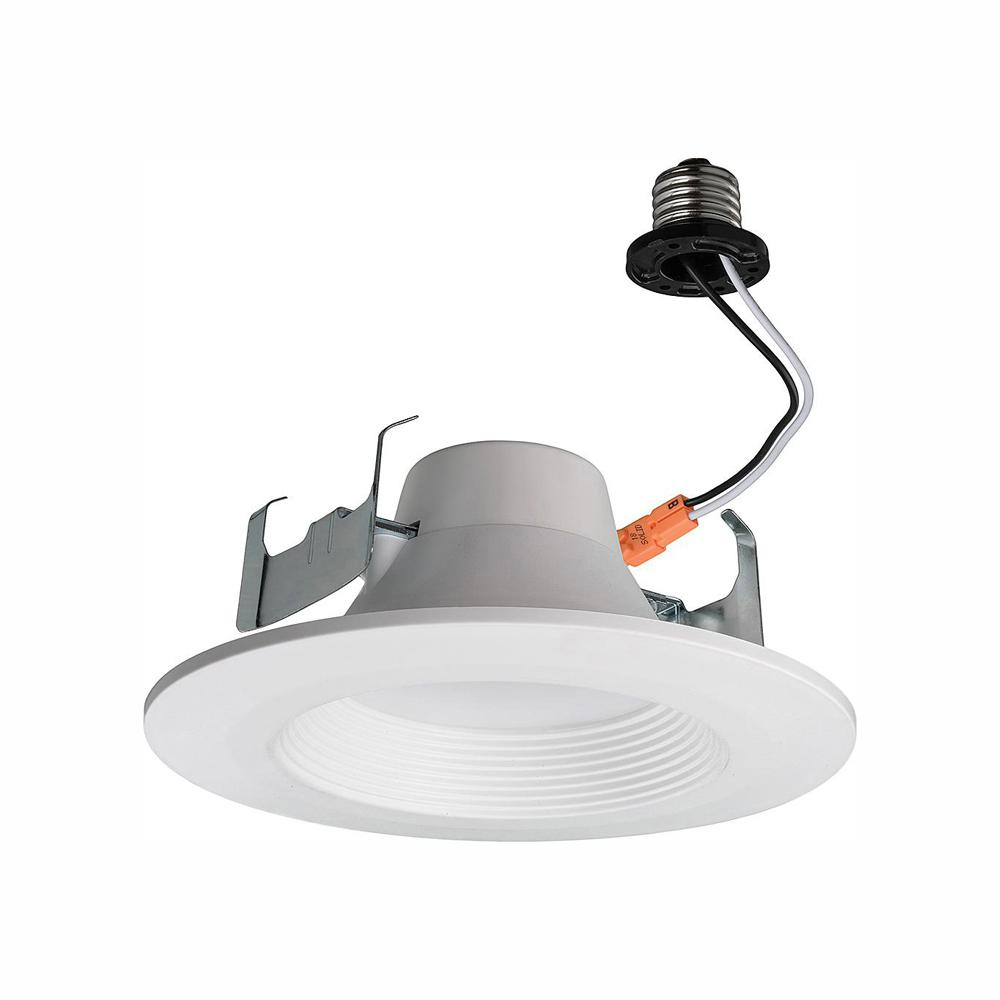Commercial Electric Bluetooth 5 in /6 in  60-Watt Equivalent White LED  Recessed Trim with Color Temperature Changing Feature