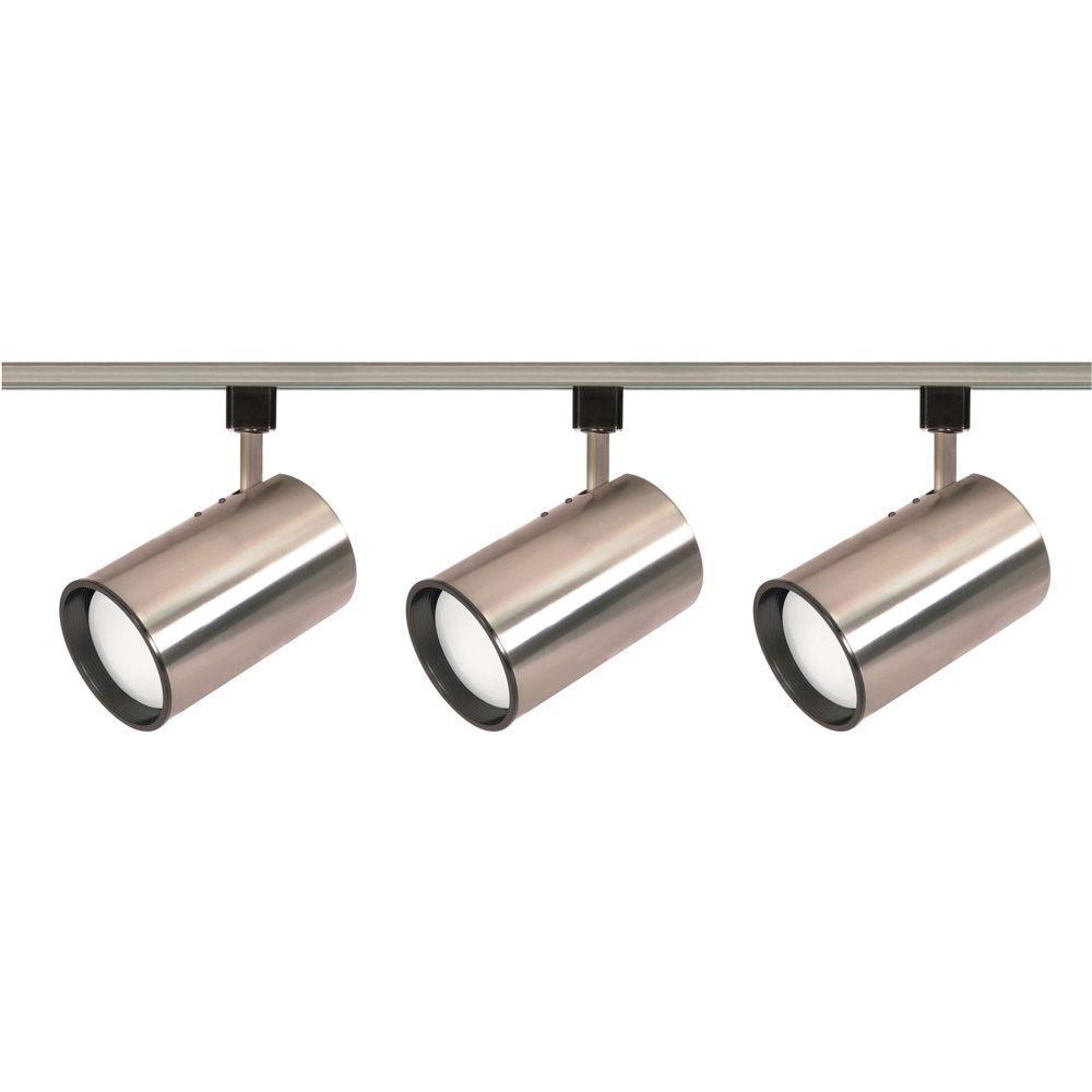 Factor 3 Light Track Fixture: Glomar 3-Light R30 Brushed Nickel Straight Cylinder Track