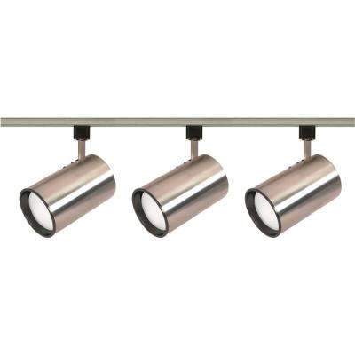 3-Light R30 Brushed Nickel Straight Cylinder Track Lighting Kit