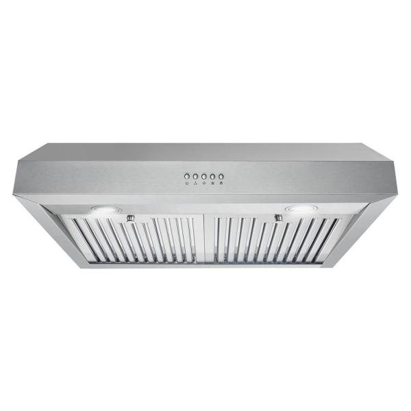 LED Lighting Push Button Controls Permanent Filters in Stainless Steel Wall Mount Range Hood with Ducted Exhaust Vent 3 Speed Fan Firegas 30 in