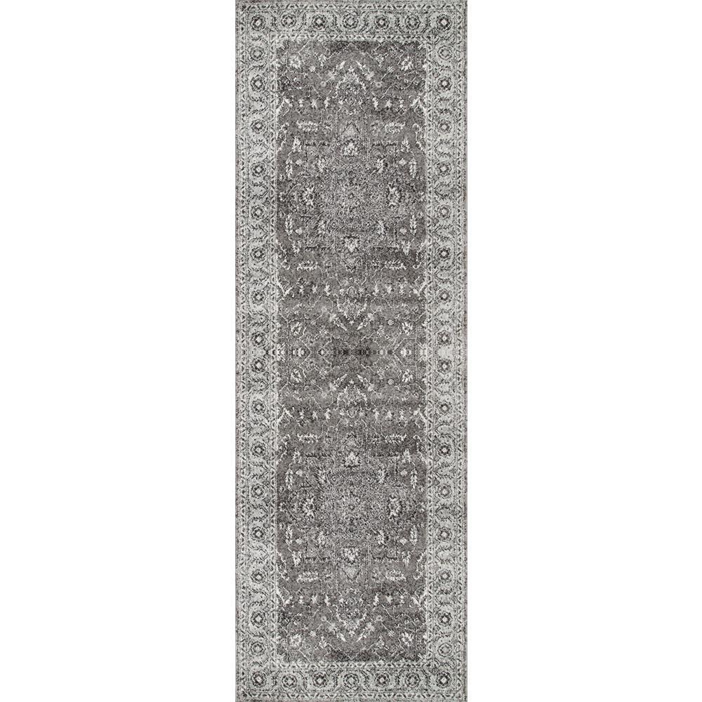 Vintage Abbey Blossom Dark Grey 2 ft. 8 in. x 8 ft. Runner Rug