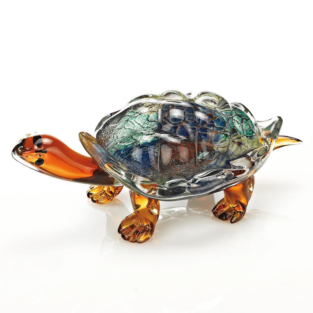 Firestorm Murano Style Art Glass 12 in. L x 6 in. x 5 in. Turtle