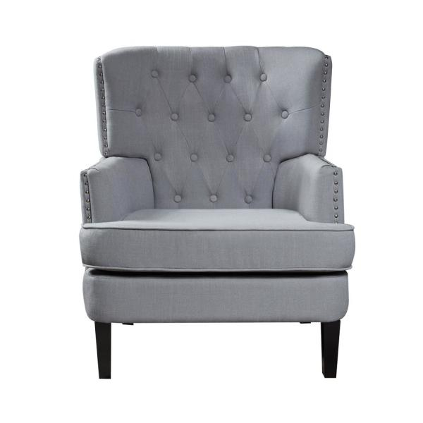 LOKATSE Gray Polyester Accent Chair AC18804G