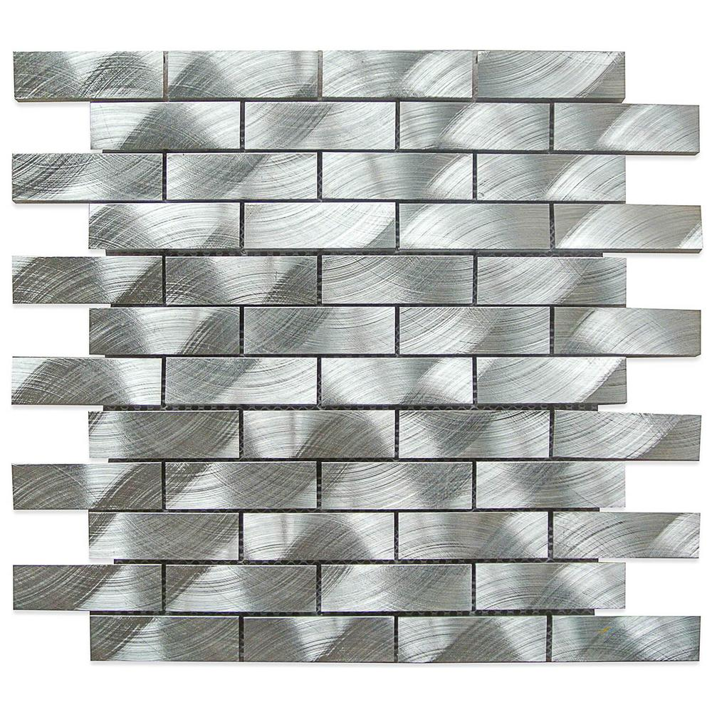Splashback Tile Urban Silver Aluminum Mosaic Tile - 3 in. x 6 in ...