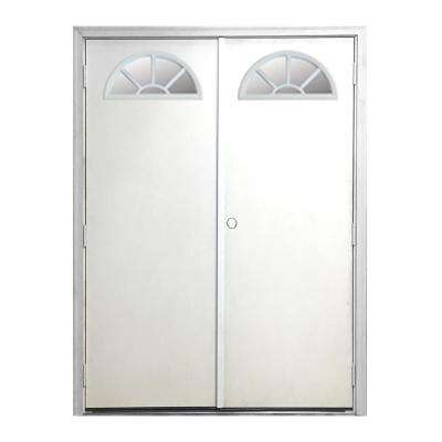 60 in. x 80 in. Garden Shed Fan Lite White Primed Left-Hand Outswing Fiberglass Prehung Front Door