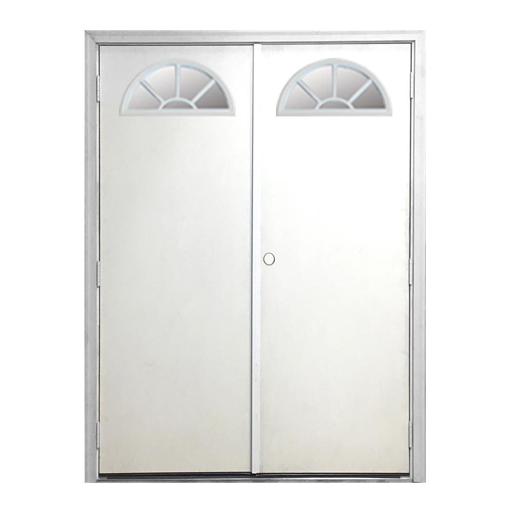 72 in. x 80 in. Garden Shed Fan Lite White Primed Left-Hand Outswing Fiberglass Prehung Front Door