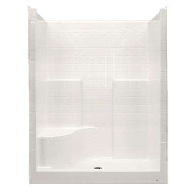 Everyday 60 in. x 36 in. x 76 in. 1-Piece Shower Stall with Left Seat and Center Drain in Bone