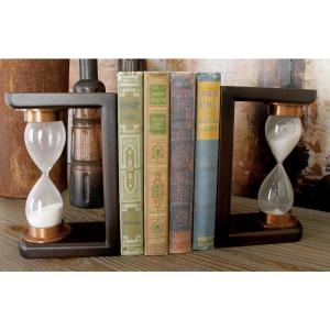 5 inch x 7 inch Mahogany Brown and Copper Gold Sand Timer 3-sided Bookends by