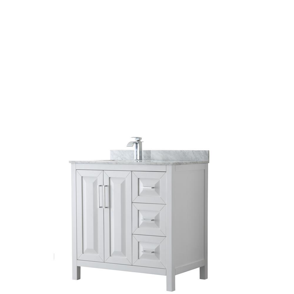 Daria 36 in. Single Bathroom Vanity in White with Marble Vanity Top in Carrara White with White Basin