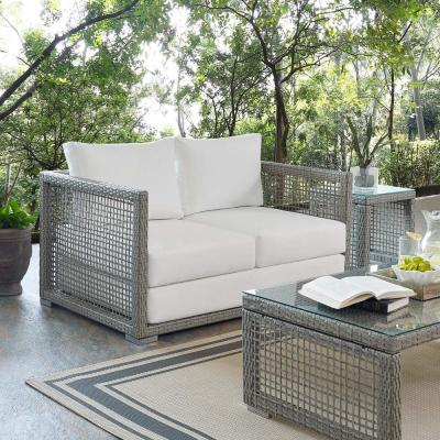 Aura Gray Wicker Outdoor Loveseat with White Cushions