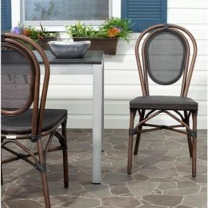 Safavieh Ebsen Black Textile Aluminum Patio Side Chair  (2 Pack) PAT4002A SET2   The Home Depot