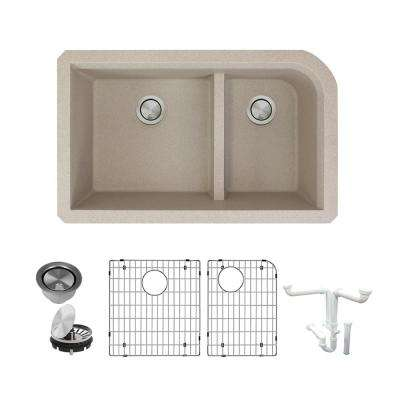 Radius All-in-One Undermount Granite 32 in. 1-3/4 in. J-Shape Double Bowl Kitchen Sink in Cafe Latte