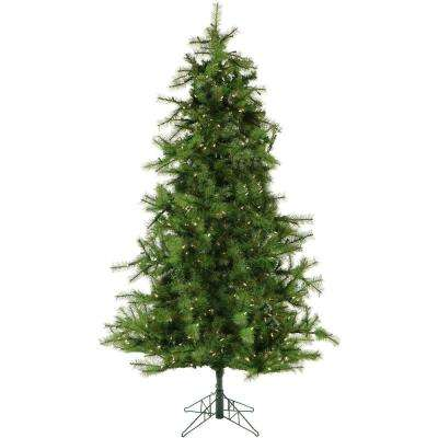 6.5 ft. Colorado Pine Artificial Christmas Tree with Clear LED String Lighting