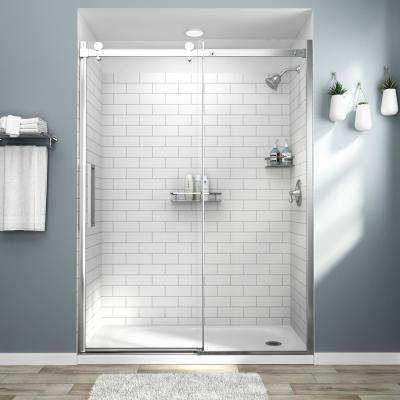 Passage 32 in. x 60 in. x 72 in. 4-Piece Glue-Up Alcove Shower Wall in White Subway Tile