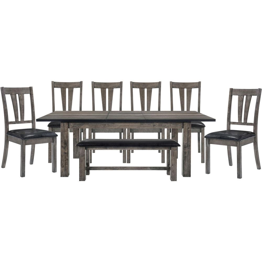 Drexel 8 Piece Weathered Gray Dining Set: Table, 6 Upholstered Chairs And