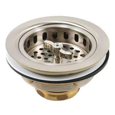 Basket Strainer Stainless Steel Spin and Lock Post 3-1/2 in. to 4 in. Satin Nickel with Putty