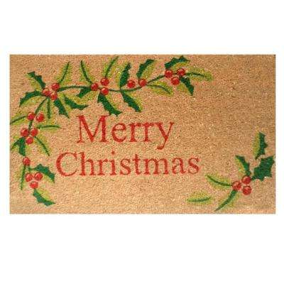 Merry Christmas 17 in. x 29 in. Coir Door Mat