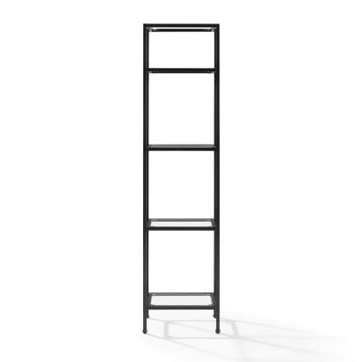 73 in. Oil Rubbed Bronze/Clear Metal 4-shelf Etagere Bookcase with Open Back