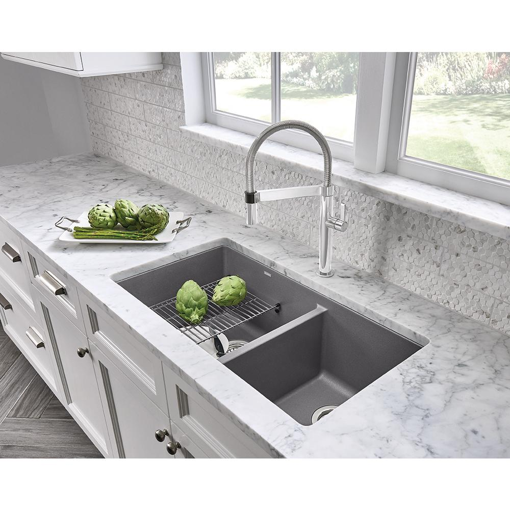 Blanco PRECIS Undermount Granite Composite 33 in. 60/40 Double Bowl Kitchen  Sink in Metallic Gray
