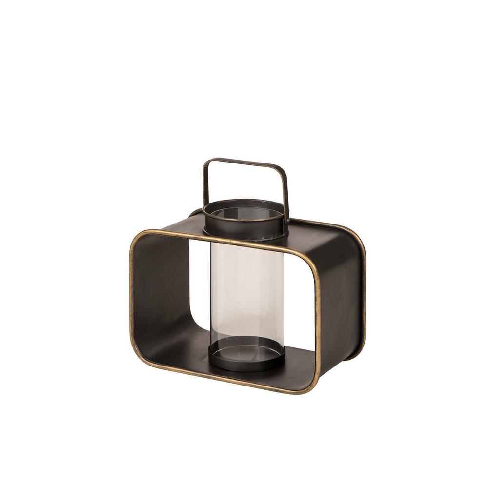 13 in. H Brown Industrial Metal Lantern