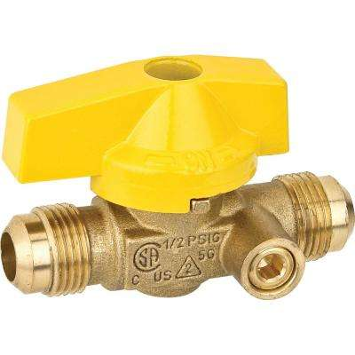 1/2 in. Brass Flare x Flare Lever Handle Gas Ball Valve with Side Port